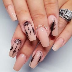 Feather nail art is maybe the most effective alternative that you simply will create. However, there is also times that you simply feel as if making feather nail art is just too. Feather Nail Designs, Feather Nail Art, Nail Art Designs, Love Nails, Pretty Nails, Dream Catcher Nails, Nagellack Design, Best Acrylic Nails, Nagel Gel