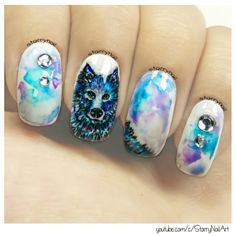 https://starrynail.com/2016/06/12/blue-wolf-freehand-nail-art/