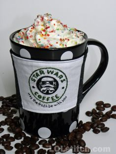 Star Wars Stormtrooper Coffee Cozy  Hand Embroidered  by LOLstitch, $17.00