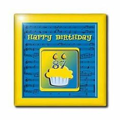 """87th Birthday Cupcake on Music Notes, Blue and Yellow - 12 Inch Ceramic Tile by 3dRose. $22.99. Dimensions: 12"""" H x 12"""" W x 1/4"""" D. Construction grade. Floor installation not recommended.. High gloss finish. Image applied to the top surface. Clean with mild detergent. 87th Birthday Cupcake on Music Notes, Blue and Yellow Tile is great for a backsplash, countertop or as an accent. This commercial quality construction grade tile has a high gloss finish. The image is applie..."""