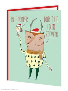 Brainbox Candy Wildstyle Christmas Nice Jumper funny owl fox animals card  #BrainboxCandy #Christmas