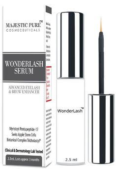 Majestic Pure Eyelash Growth Serum WonderLash - 2.5ml Cutting Edge Myristoyl Pentapeptide-17 & Swiss Apple Stem Cells Based Formula For Eyelashes and Brows