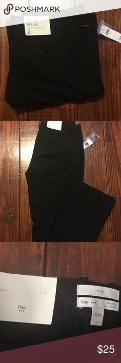 Gap size 2 mid rise trousers/black with stripes New with tags Gap stretch favorite trouser, mid rise, loose through the hips, straight leg opening. Beautiful pants! Inseam- 30 inches. Waste- 15 inches. Rise- 9 inches. GAP Pants Trousers