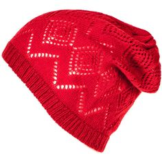 Red Cashmere Pointelle Slouch Beanie (320 BRL) ❤ liked on Polyvore featuring accessories, hats, beanie, cashmere beanie hat, slouchy beanie, slouchy hat, red hat and red beanie hat