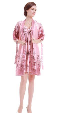 0e9f31594 Amazon.com  Olivery™ Womens Gorgeous Faux Silk Sleepwear Loungewear Dress    Robe 2 pcs Set  Clothing