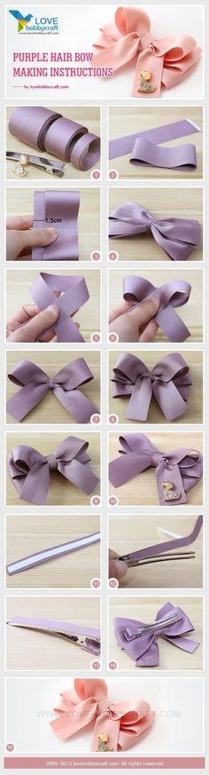 手工DIY发饰:紫色蝴蝶结发夹教程