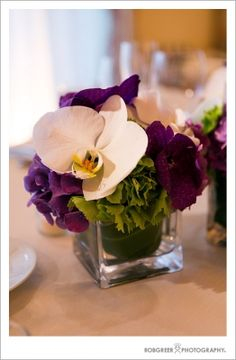 Like the simple square vase.  Would like this with almost any flower combination.