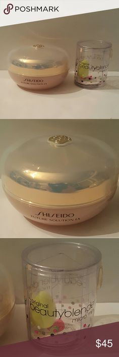 Shiseido loose powder & mini Beauty blender!! Total radiance Shiseido loose powder & mini Beauty blender!! Mini Beauty bender is new! Shiseido powder has been tried twice only. It's basically full. Excellent powder, but I have too many right now. If you are not familiar with this brand, or powder, please look online and research. I paid full price at Nordstrom with tax and the mini blender I bought at Sephora, there was two I am keeping one and this one is for sale. Little bit of wear on the…