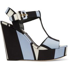 Dolce & Gabbana Striped canvas wedge sandals, Women's, Size: 36.5 (£285) ❤ liked on Polyvore featuring shoes, sandals, heels, wedges, light blue, strappy sandals, platform sandals, block-heel sandals, high heel sandals and heeled sandals