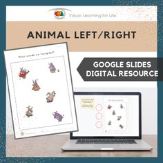 This digitally interactive resource is designed for use with Google Slides. This resource contains 10 slides in total. Answer sheets are included.The student must identify which animals are facing left and which animals are facing right on each slide, and drag a red circle to mark the correct answers.