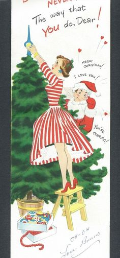 Man in Flocked SANTA Suit Fills Stocking Wife Decorates Tree Vtg Christmas Card 2 • $4.50