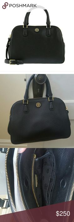 Tory Burch Robinson Black Double Zip Satchel Very good used condition Tory Burch Robinson Black Double Zip Satchel. Carried a few times. Two handles and a crossbody strap included. Interior label is a little scratched up. Otherwise in excellent condition. Tory Burch Bags Satchels