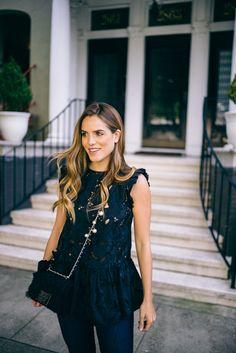 Denim, Leather & Lace - No. 21 Top and my Carolina Herrera Bag