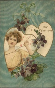 Valentine - Beautiful Woman Yellow Dress c1910 Postcard