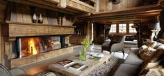 Chalet des Fermes in Megeve sleeps 10 guests in fabulous luxury. The chalet is refined and sophisticated with rich decoration. Chalet Chic, Chalet Style, Cabin Chic, Cozy Cabin, Chalet Interior, Room Interior, Chalet Design, Wooden House Design, Wooden Houses