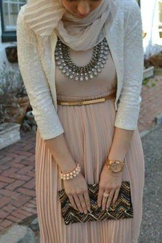 nude pink, white, gold, statement necklace
