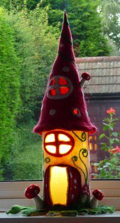 felted fairy lamp toadstool bedside lamp night by FeltedArtToWear