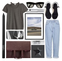 """""""road trip"""" by foundlostme ❤ liked on Polyvore featuring LnA, Casetify, Monde Mosaic, Boutique, Maison Margiela, NARS Cosmetics, L:A Bruket, Ray-Ban, denim and Tshirt"""