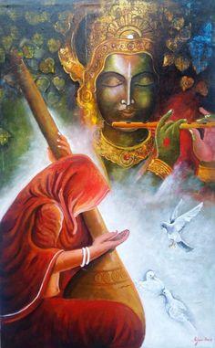 Buy Painting Krishna Sang Meera 2 Artwork No 9667 by Indian Artist Arjun Das Indian Art Paintings, Buy Paintings, Painting Art, Lord Krishna Wallpapers, Radha Krishna Wallpaper, Krishna Painting, Krishna Art, Radhe Krishna, Shree Krishna