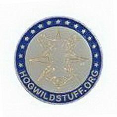 Geocaching / Geocoin lapel pin: Hogwild Stuff logo, blue