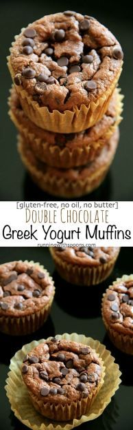 Double Chocolate Greek Yogurt Muffins -- you'd never believe that these soft and tender muffins are made without any flour, butter, or oil. DELICIOUS! || runningwithspoons.com