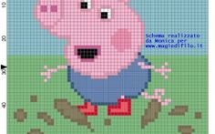 George Pig on the mud cross stitch pattern