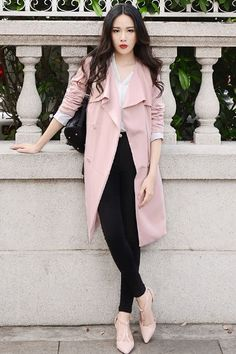 Retro Double-Breasted Pink Trench