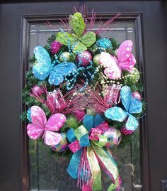 Christmas Wreath Bright Butterfly Preppy Door Decoration Blue Pink ...875 x 1000 | 351.6 KB | www.etsy.com