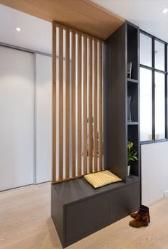end of stairs in the basement create landing and room separation appartement renovation lyon architecte interieur - - House Design, Living Room Partition, Home Remodeling, Apartment Renovation, House Interior, Home Renovation, Living Room Divider, Interior Architect, Home Interior Design