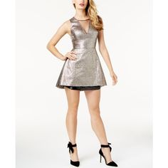 Sb by Sachin & Babi Metallic Fit & Flare Mini Dress, Created for... ($119) ❤ liked on Polyvore featuring dresses, metallic, mini dress, metallic dress, sachin babi dress, white mini dress and white day dress