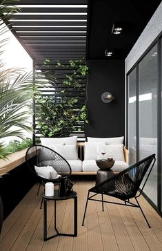 modern outdoor seating area, modern outdoor furniture, modern outdoor living room with outdoor sofa and black house Small Balcony Design, Small Balcony Decor, Terrace Design, Modern Balcony, Modern Pergola, Patio Balcony Ideas, Pergola Ideas, Modern Porch, Terrace Decor