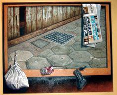 Luis Núñez San Martín, pintor #Antofagasta #Chile. Óleo sobre tela y assamblage.