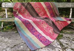 Large Peruvian Manta/ Frazada / Rug / Ethnic Boho Wool Rug / Sofa Throw / Bed Throw
