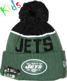 6f52d920089 New Era Kids NFL Sport Knit Bobble Hat. Green with the New York Jets