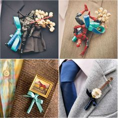 Why not choose non-floral boutonnieres that reflect your man's hobbies and interests? They won't wilt like standard flower bouts AND your hubby will score some major man cred, which admittedly is not super easy to do at wedding celebrations. Budget Wedding, Diy Wedding, Wedding Planning, Dream Wedding, Wedding Day, Wedding Stuff, Garden Wedding, Wedding Pins, Wedding Attire