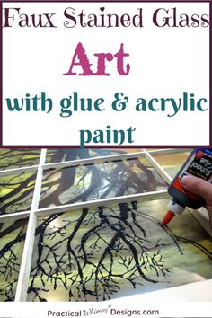 Make beautiful diy art with glue and acrylic paint. This simple painting tutorial is an easy way to create faux stained glass and it is sure to add personality to your home decor. Stained Glass Paint, Making Stained Glass, Stained Glass Projects, Stained Glass Patterns, Stained Glass Windows, How To Do Stained Glass Diy, Mosaic Patterns, Glass Painting Patterns, Glass Painting Designs