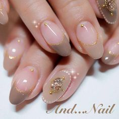 French Taupe Natural Bijou nails nailart from http://ameblo.jp/mari-and-nail/entry-11627384359.html