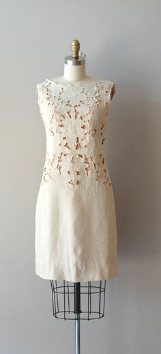 1960s dress / 60s linen cutout dress / Irish Eyes dress