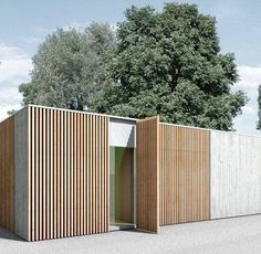 -Wood and concrete make for a nice combination. Atelier by Berger Röcker. Wood and concrete make for a nice combination. Atelier by Berger Röcker. Wood Facade, Timber Cladding, External Cladding, Wood Architecture, Residential Architecture, Exterior Design, Interior And Exterior, Carport Modern, Concrete Fence