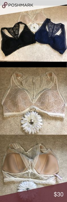 VS BRALETTE BUNDLE 📌FIRM PRICE📌 Reposhing. Love them all. Comfortable. But this was my first bralette purchase and I was unsure if I wore a small or medium. They fit okay, just a little snug. And I would prefer to be in a medium, more comfortable. No flaws. Previous owner wore only once. No sign of wear. No staining or holes. All size small. Colors are black, navy, white Victoria's Secret Intimates & Sleepwear Bras