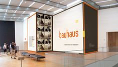 """Title design by MoMA's design department, for Bauhaus Workshops for Modernity at MoMA, 2009 (top) in a bespoke typeface inspired by Herbert Bayer's design for """"universal"""" lettering, 1925 (also shown above). Display Design, Booth Design, Wall Design, Environmental Graphic Design, Environmental Graphics, Donor Wall, Signage Display, Wall Text, Timeline Design"""