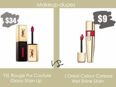 Makeup dupes: YSL Rouge Pur Couture Glossy Stain Lip dupe