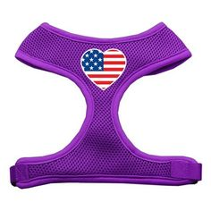 Mirage Heart Flag USA Screen Print Soft Mesh Harness Purple Extra Large -- Check out this great image  (This is an amazon affiliate link. I may earn commission from it)