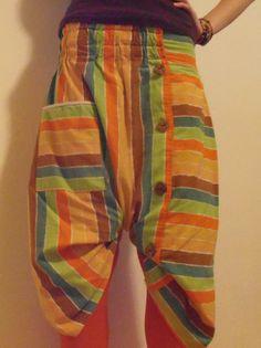 DIY Stripy harem pants