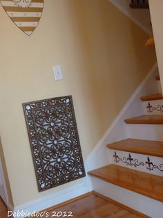 This idea is genius..Using a door mat to cover air vents!~Luv Wall Plaque w/ Stairs(stripes) & Vent Cover Matching Designs.THE WHOLE LOOK!