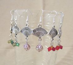 Handmade Antiqued Silver Fan Beaded Dangle by Pizzelwaddels, $14.97