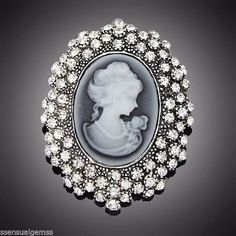 New Cameo Gray Brooch Oval Pin Crystal  #SensualGems #PinBrooch