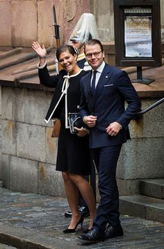 Crown Princess Victoria and Prince Daniel of Sweden depart after attending service at the Church of St. Nicholas in connection with the opening of the parliamentary session on September 15, 2015 in Stockholm, Sweden.
