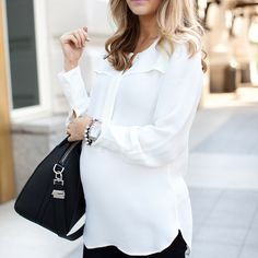 "@emilyijackson's photo: ""Ivory + black today on Ivory Lane. #whatiwore #ootd #pregnancystyle"""