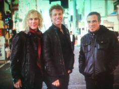 "David Bryan, Jon Bon Jovi, Tico Torres in Japan. From David Bergman's book ""WORK"""